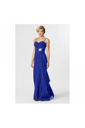Royal Tia Pleated Chiffon Long Prom Dress