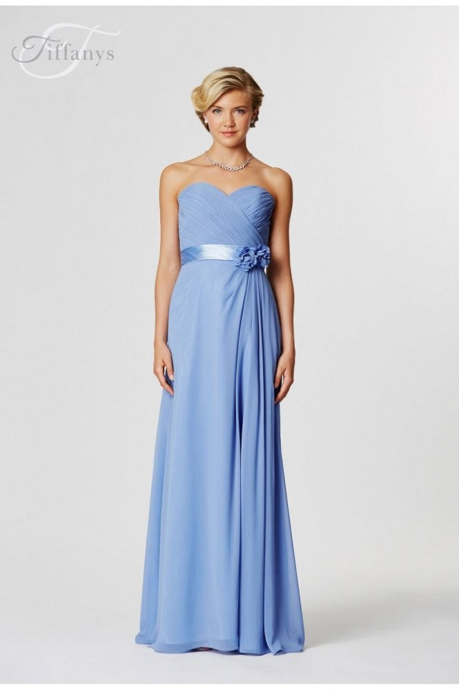 Saffron Cornflower blue strapless sweetheart chiffon gown