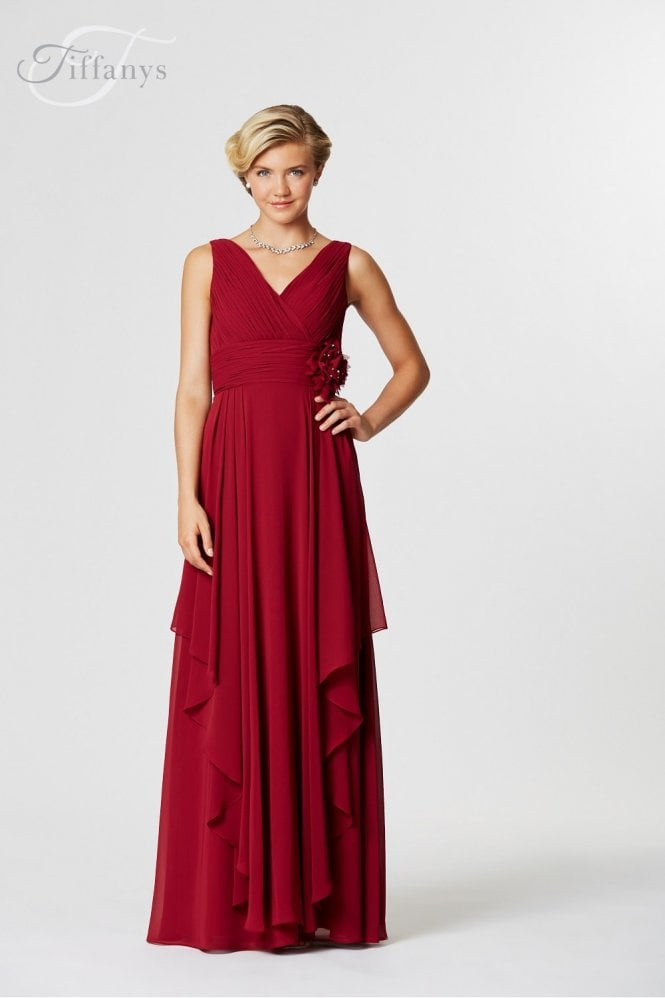Storm Burgundy Long chiffon dress with straps