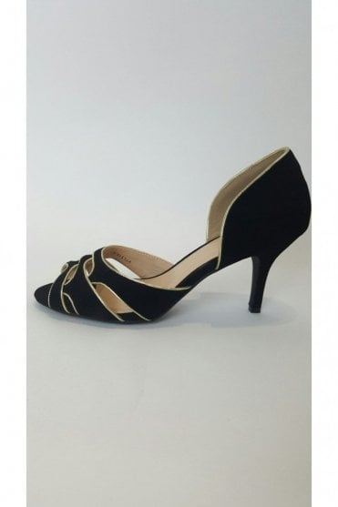 VTL1516 Black & Gold Open Toe Flock Shoe