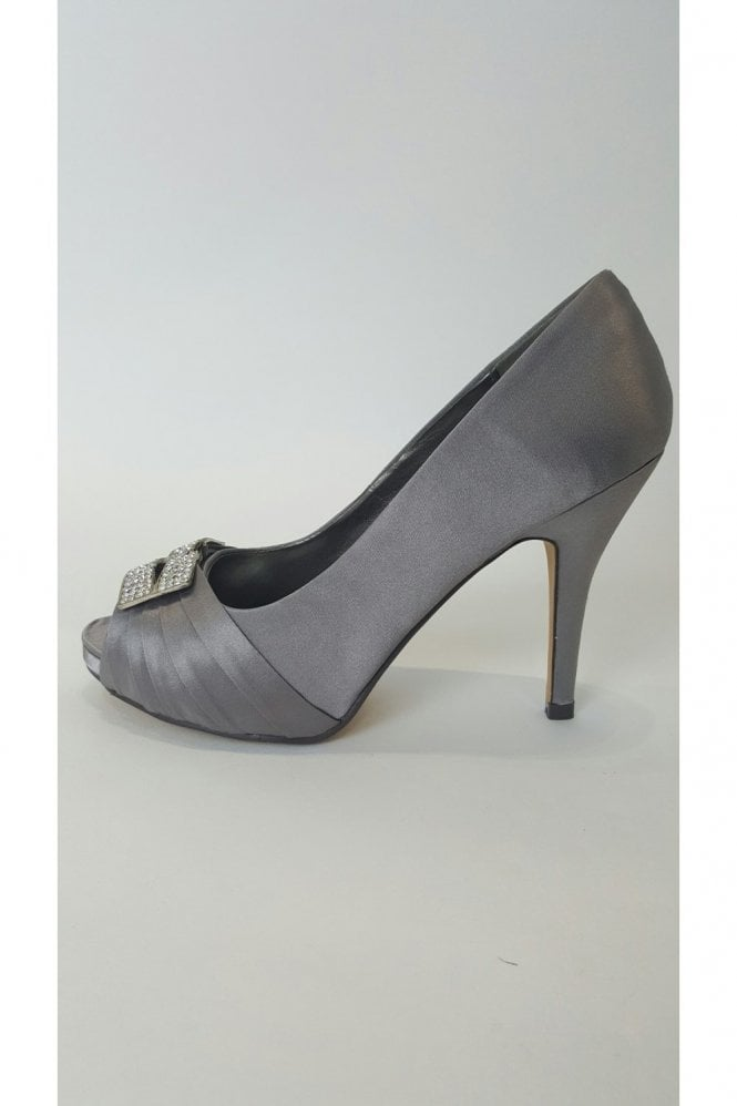 Verdon VT Collection VTL1530 Grey Satin Shoe with Diamonte Buckle