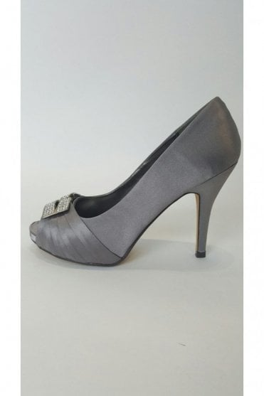 VTL1530 Grey Satin Shoe with Diamonte Buckle