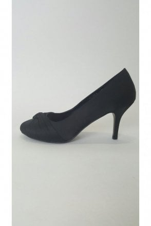 VTL1532 Black Satin Court Shoe