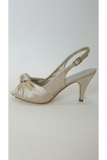 VTL1650 Pale Gold Knot Toe Satin Shoe