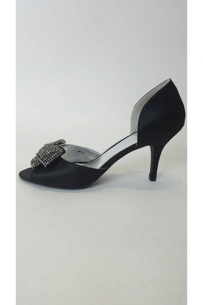 VTL961 Black Satin Shoe With Silver Bow