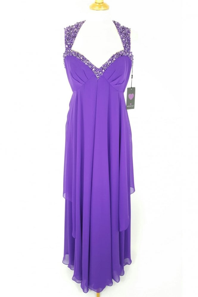 Viviana Cadbury Purple 31012304 Long Chiffon Ball Gown