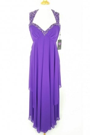 Cadbury Purple 31012304 Long Chiffon Ball Gown